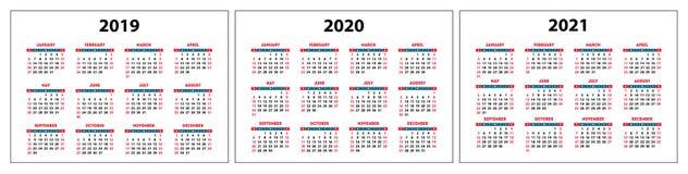 Calendar uppsättningen 2019, 2020, 2021 år Färg fack Veckastarter på söndag Arkivbild