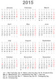 Calendar 2015 for the US. Starts on Monday with holiday marking and holiday dates Royalty Free Stock Photos