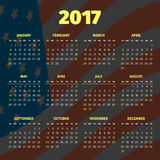 Calendar 2017 with USA flag background Royalty Free Stock Photography