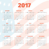 Calendar 2017 with USA flag background Stock Image