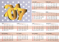 2017 calendar USA flag. 2017 calendar in english With an USA flag as background. Year 2017 calendar. Calendar 2017. Week starts on sunday Royalty Free Stock Photo