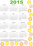 Calendar 2015 for the USA with holidays and flower Stock Image
