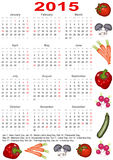 Calendar 2015 for the USA with vegetables. Calendar 2015 for the USA starting Monday with official holidays and various vegetables Royalty Free Stock Image