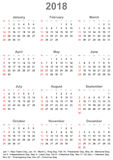 Calendar 2018 for USA - week starts on sunday. Simple calendar 2018 marked with the official holidays for the USA. The week starts on sunday Royalty Free Stock Photo