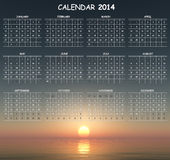Calendar. Useful calendar with elegant sunset background Royalty Free Stock Images