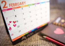 Calendar of Valentine's Day. Calendar of Valentine's Day holidays love royalty free stock photos