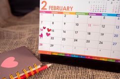 Calendar of Valentine's Day. Calendar of Valentine's Day holidays love vector illustration