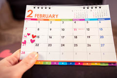 Calendar of Valentine's Day. Calendar of Valentine's Day holidays love stock photo
