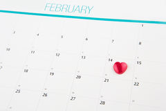 Calendar With Valentine Heart Shape II Royalty Free Stock Photography
