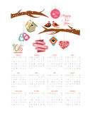 Calendar 2016 with valentine. New year Vector Illustration