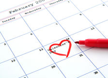 Calendar and valentine's day. Calendar with valentine's day marked with a heart Royalty Free Stock Images