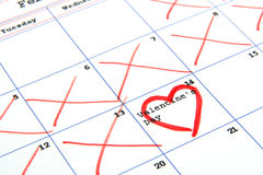Calendar and valentine's day Stock Images