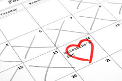 Calendar and valentine's day. Calendar with valentine's day marked with a heart Royalty Free Stock Photography