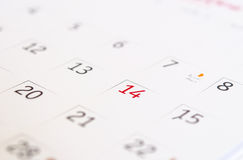 Calendar Valentine's Day. Stock Photos