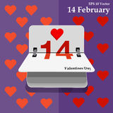 Calendar for valentines day, alendar Date, February 14, calendar on flat design Stock Images