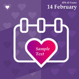 Calendar for valentines day, alendar Date, February 14, calendar on flat design Royalty Free Stock Photo