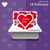 Calendar for valentines day, alendar Date, February 14, calendar on flat design Stock Photos