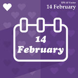 Calendar for valentines day, alendar Date, February 14, calendar on flat design Royalty Free Stock Images