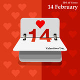 Calendar for valentines day, alendar Date, February 14, calendar on flat design Stock Photo