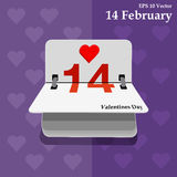Calendar for valentines day, alendar Date, February 14, calendar on flat design Royalty Free Stock Photos