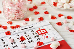 Calendar Valentines day and marshmallows Royalty Free Stock Photography