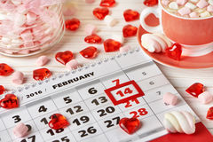 Calendar Valentines day and marshmallows Royalty Free Stock Photo