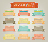 Calendar 2017 variety color on ribbon design Royalty Free Stock Photos