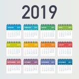 Calendar 2019, vecka startar från söndag, affärsmall Redigerbar tillgänglig vektormapp Engelska och söndag till den måndag versio vektor illustrationer