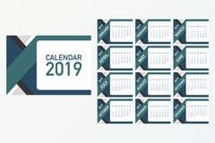 Calendar 2019, vecka startar från söndag, affärsmall Redigerbar tillgänglig vektormapp Engelska och söndag till den måndag versio stock illustrationer
