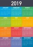 Calendar 2019, vecka startar från söndag, affärsmall Redigerbar tillgänglig vektormapp Format A4 stock illustrationer