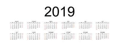 Calendar 2019, vecka startar från söndag, för vektoraffär för 2019 kalender mall royaltyfri illustrationer