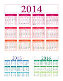 Calendar vector. 2014 2015 2016 illustration v.10 Stock Images