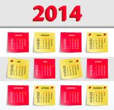 2014 calendar. Vector Calendar 2014, All Elements Are In Separate Layers And Grouped, Easy To Edit Vector Illustration
