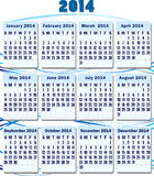 Calendar 2014. Vector. Royalty Free Stock Photos