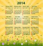 Calendar 2014. Vector art illustration Royalty Free Stock Photos
