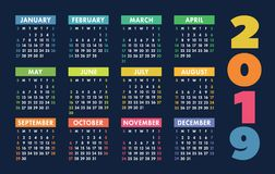 Calendar 2019 vector basic grid. Simple design template. Colorful and dark vector illustration