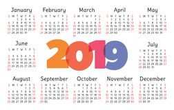 Calendar 2019 vector basic grid. Simple design template. For New Year stock illustration
