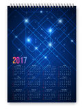 Calendar 2017 Vector. Blue colored futuristic abstract design calendar 2017 template. Week starts from sunday. Vector realistic spiral notepad notebook Stock Images