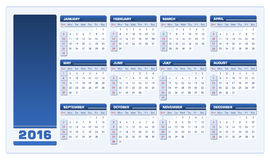 2016 Calendar vector blue landscape. Vector illustration of a 2016 calendar with empty space for your logo. All elements are sorted and grouped in layers for royalty free illustration