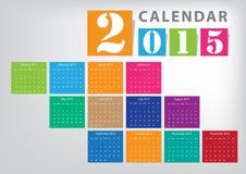 Calendar 2015. Vector bright colour design Royalty Free Stock Photography