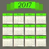 Calendar 2017. Vector calendar template Royalty Free Stock Photo