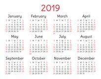 2019 calendar. Pocket. Week starts on Sunday. 2019 calendar. Vector, color, pocket template. Week starts on Sunday. Colorful, basic grid for design Stock Photos