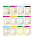 Calendar 2015 vector. Colored optimistic calendar for 2015 Royalty Free Stock Photo