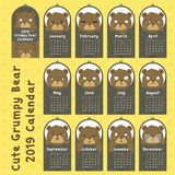 Grumpy Grizzly Bear 2019 Calendar Design Vector. 2019 Calendar vector design. Cute grumpy grizzly bear calendar cartoon vector. Printable animal 2019 calendar stock illustration