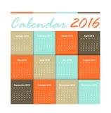 Calendar 2016 Vector design Stock Photography