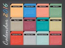 Calendar 2016 Vector design Stock Photos