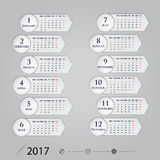 2017 Calendar Vector design stationery template.Calendar for 201. 7 year.Week starts Monday.Yearly calendar template.Calendar 2017 Set of 12 Months.Vector Royalty Free Stock Images