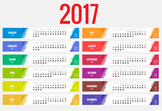 Calendar 2017. Vector design stationery template. Flat style color vector illustration. Yearly calendar template Royalty Free Stock Photography