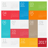 Calendar 2017. Vector design stationery template. Flat style color vector illustration. Yearly calendar template Royalty Free Stock Image