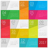 Calendar 2017. Vector design stationery template. Flat style color vector illustration. Yearly calendar template Royalty Free Stock Images